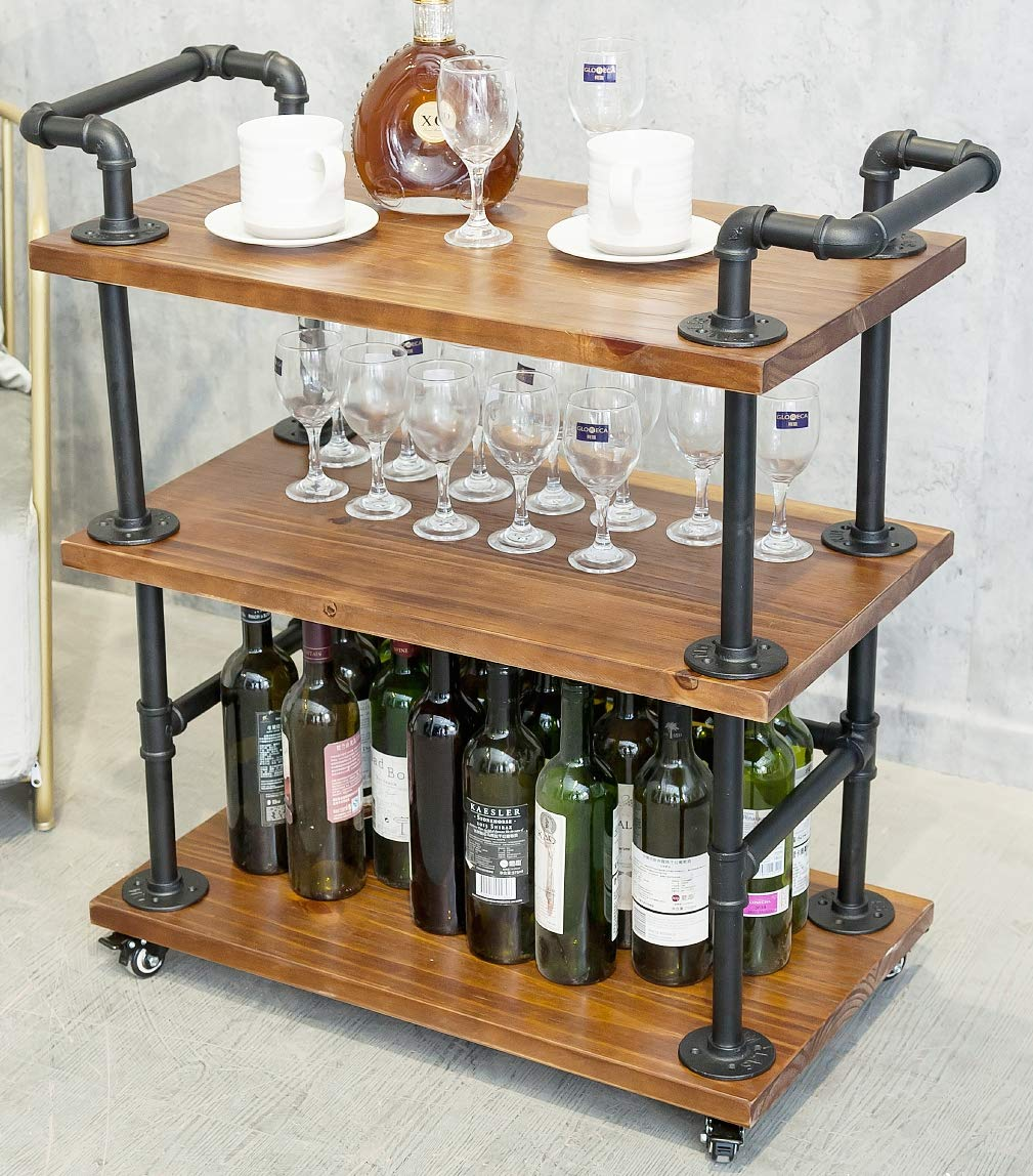 DOFURNILIM Bar Carts/Serving Carts/Kitchen Carts/Wine Rack Carts on Wheels with Storage - Industrial Rolling Carts - 3 Tiers Wine Tea Beer Shelves/Holder - Solid Wood and Metal by DOFURNILIM