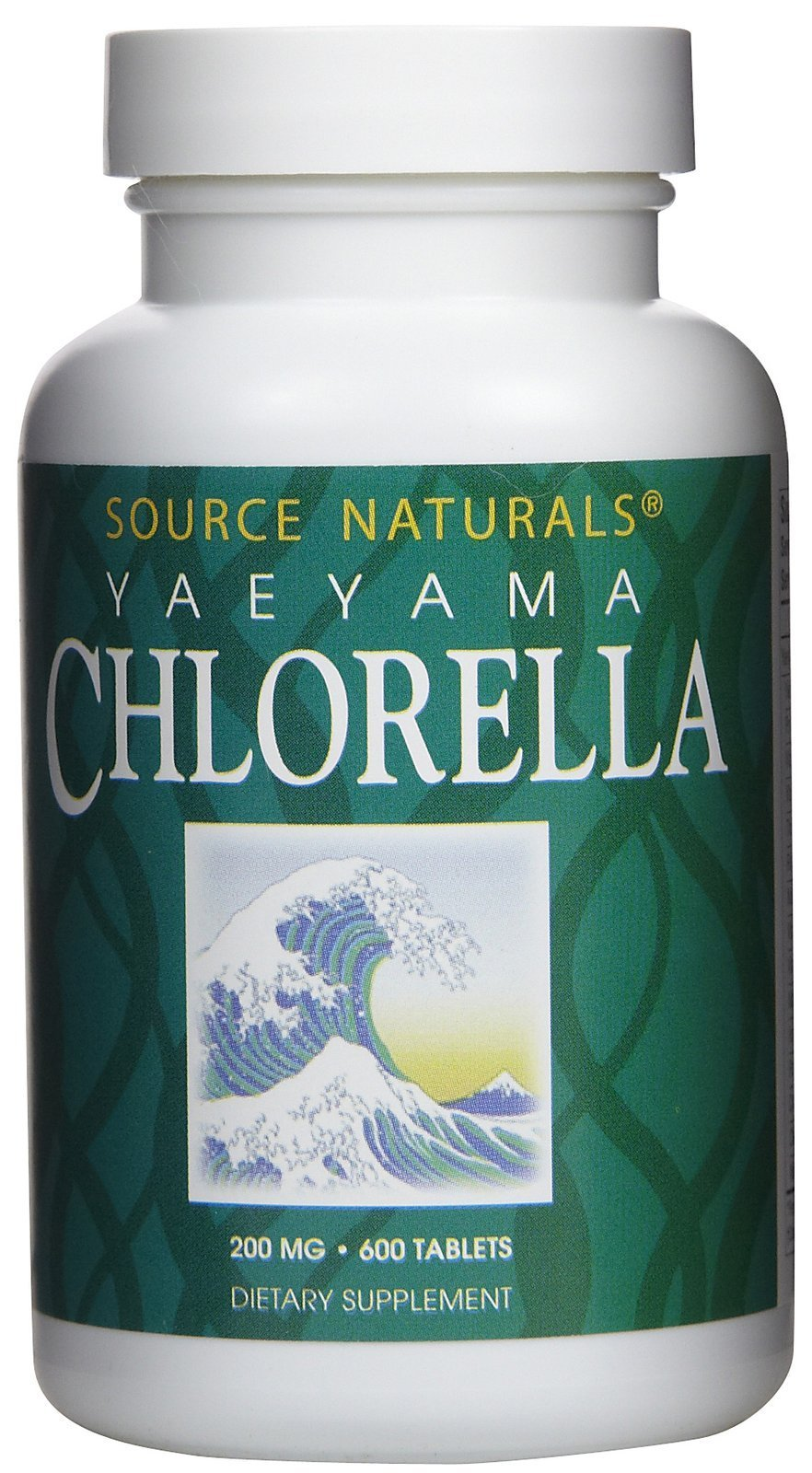 Source Naturals Yaeyama Chlorella 200mg Algae Superfood Nutritional Supplement Source Of B-12, Iron, Protein & Vitamin A - 600 Tablets