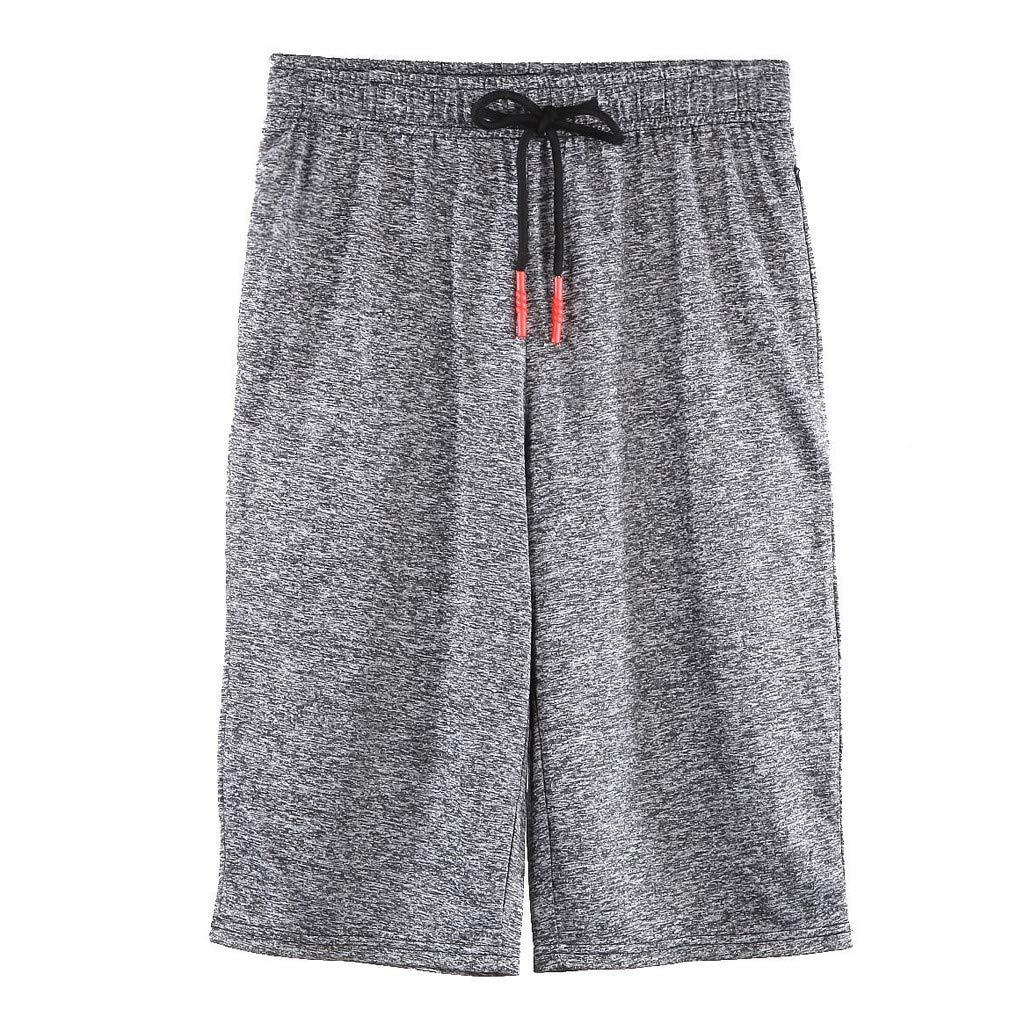 Men Sport Pants,Jchen Mens Casual Drawstring Sport Loose Jogging Pants Solid Color Shorts Calf-Length Sweatpants (XL, Gray) by Jchen Men Pants (Image #2)