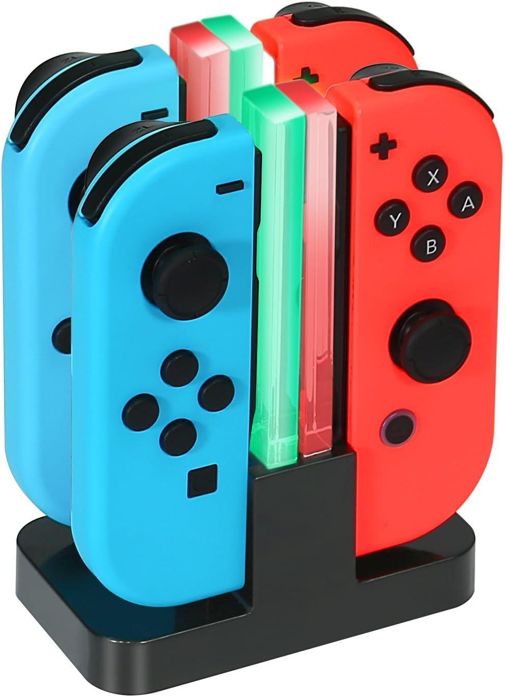 KINGTOP Base de Carga 4 en 1 Cargador para Nintendo Switch Joy-Con Chargers Dock con Indicador LED