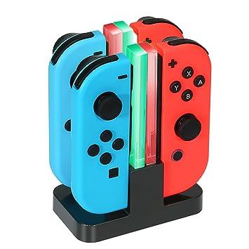 4 en 1 Soporte de Cargador y Base de Carga para Joy-con de Nintendo Switch con indicador LED Individual