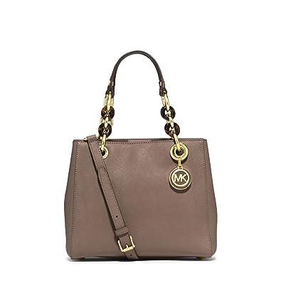 6dd14d4f155e43 Michael Kors Cynthia SMALL Leather Satchel in DARK DUNE: Handbags:  Amazon.com