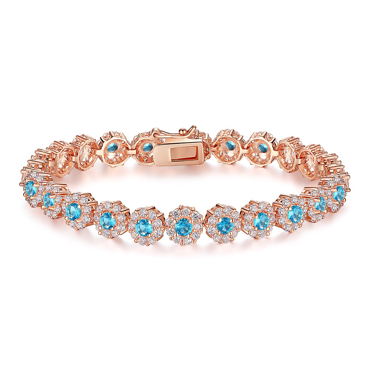 BAMOER Classic Rose Gold Plated Bracelet Sparkling Sky Blue Cubic Zirconia Stones Women Girls Her 7.5 inches by BAMOER