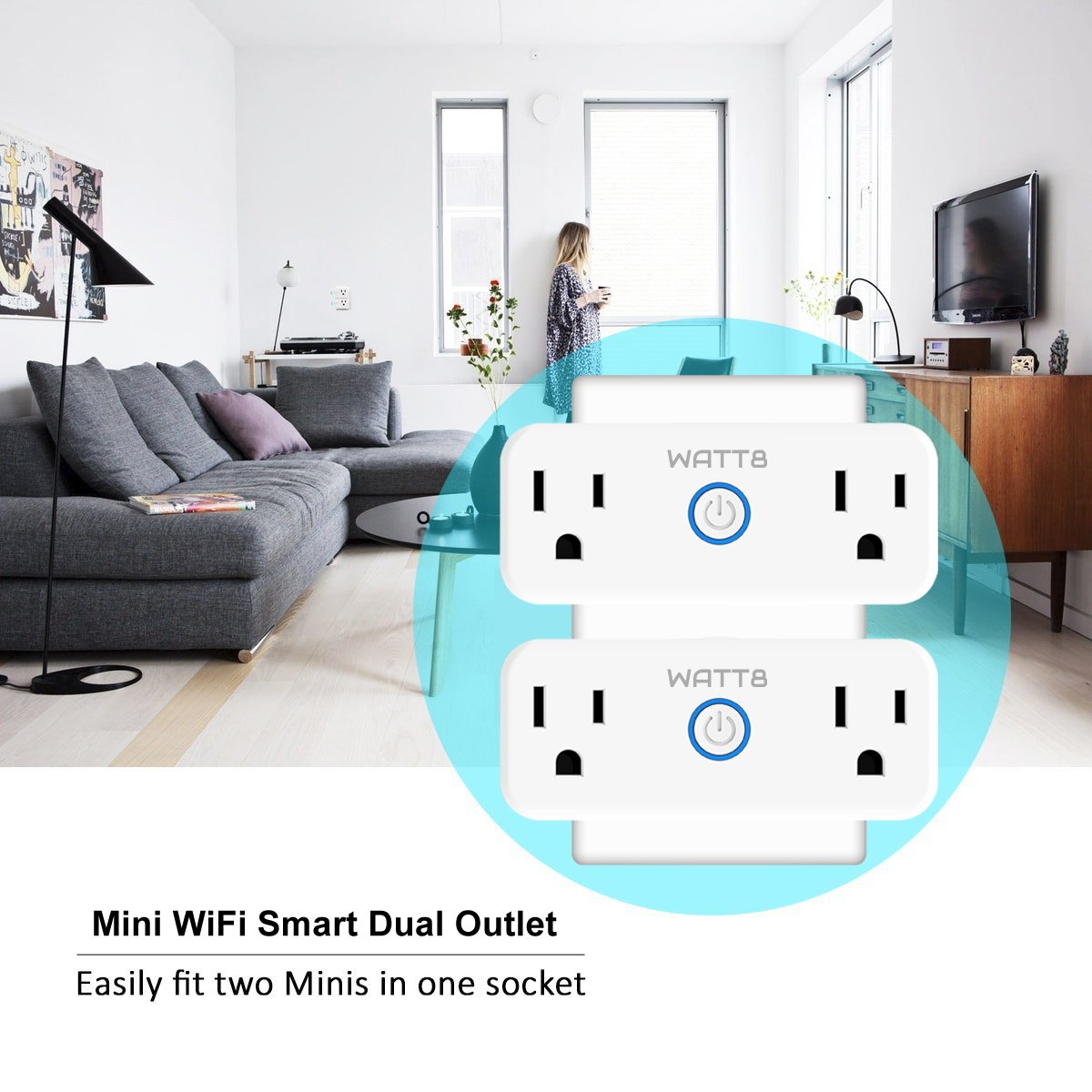 WATT8 Mini Wi-Fi Smart Plug, Dual Outlet, Works with Amazon Alexa and Google Assistant, No Hub Required, Control Your Appliances by Smart Phone and voice With Timing Function From Anywhere by WATT8 (Image #7)