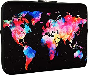 World Map Design Laptop Sleeve Bag 15-15.6 Inch, Water Repellent Neoprene Light Weight Computer Skin Bag, Notebook Carrying Case Cover Bags for 15/15.4/16 Inch MacBook Pro, MacBook Air, Computer Bag