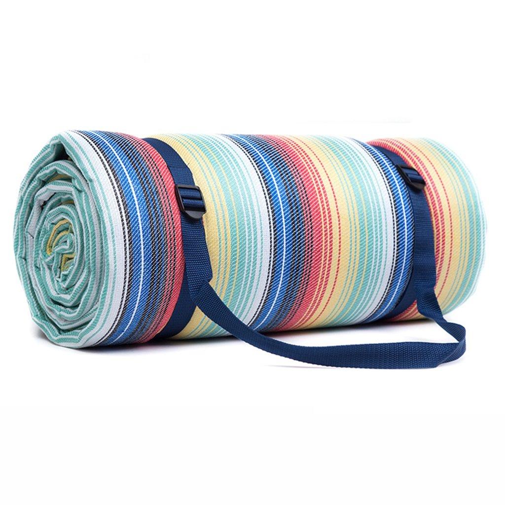 Picknickdecken 250  250 cm Picknick Matte Feuchtigkeits Pad Grid Wasserdichte Unterstützung Regenbogen Streifen (größe   300  300cm)
