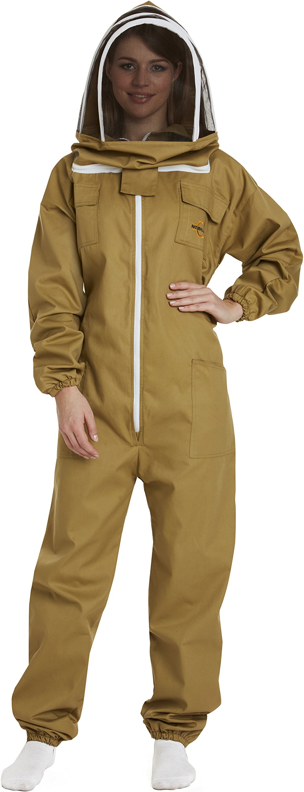 NATURAL APIARY - Apiarist Beekeeping Suit - Khaki - (All-in-One) - Fencing Veil - Total Protection for Professional & Beginner Beekeepers - X Large by Natural Apiary (Image #2)