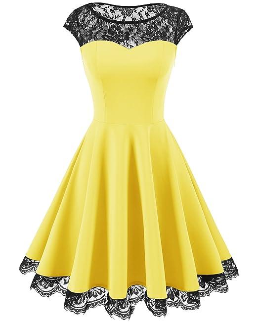 Homrain - Vestido - para Mujer Amarillo Small