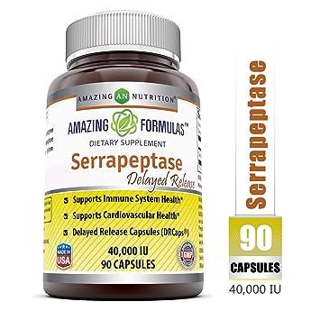 Amazing Nutrition Serrapeptase (40, 000 Units - 90 Capsules) - Natural  Anti-Inflammatory - Promotes