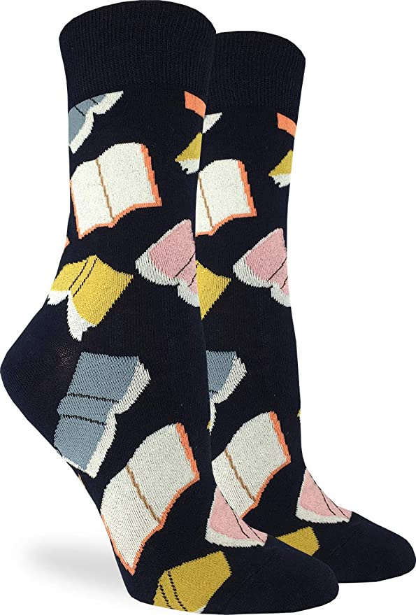 Good Luck Sock Women's Flying Books Socks - Black, Adult Shoe Size 5-9