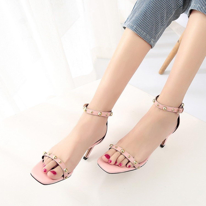 Huaishu Damen Sandalen Damen High Heel Sandaletten Sandaletten Heel Offene Zehe Schuhe Knöchelriemen Schuhe (34-39) Gelb Grün Rosa Grau Rosa efeb42