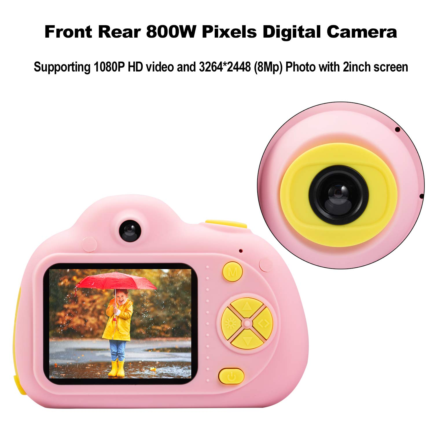 Abdtech Kids Camera Video Cameras Gifts for Girls, Mini Rechargeable Children Shockproof Digital Camcorders Little Girl Toys Gift 8MP with Battery 2 Inch Screen 16GB SD Card ( Pink ) by Abdtech (Image #2)
