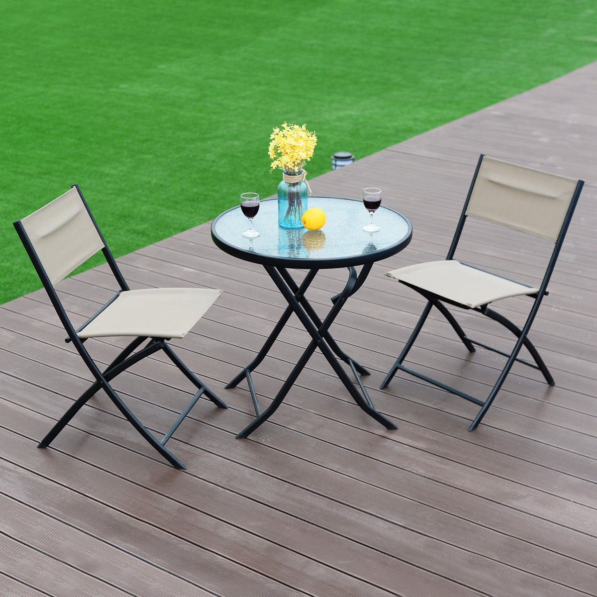 3 Piece Table Chair Set Metal Tempered Glass Folding Outdoor Patio Garden Pool
