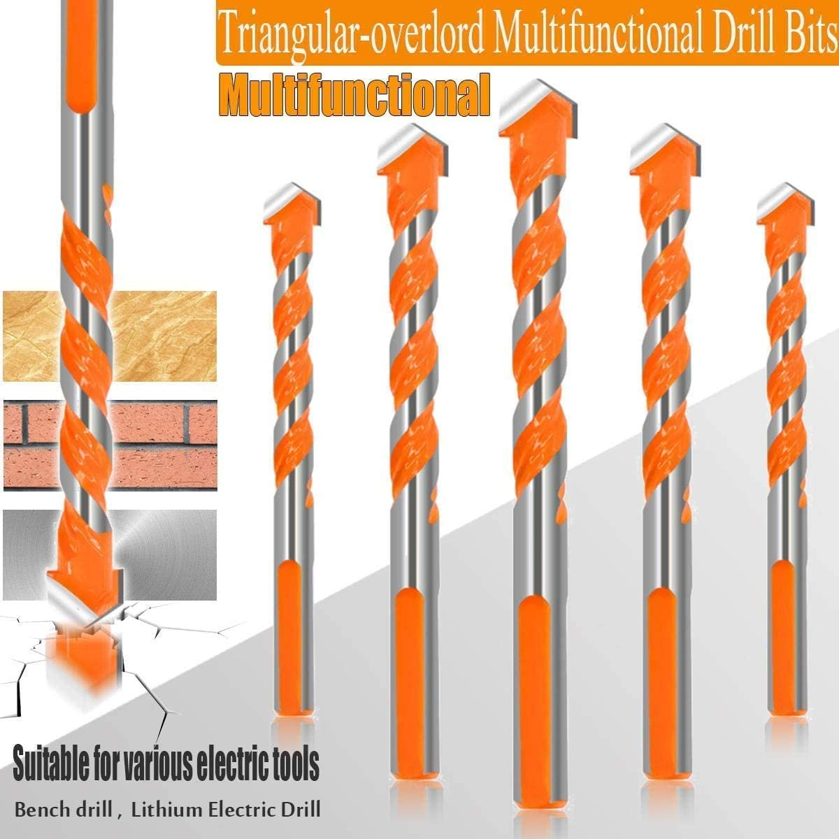 Brick Ultimate Punching Drill Bits Set with Tungsten Carbide Tip for Tile,Concrete 6, 8, 10, 12mm Triangular-Overlord Handle Multifunctional Drill Bits Plastic and Wood Glass 4 Pcs Set