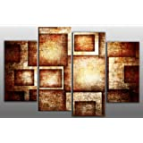 """Large Brown toned Rectangles Abstract Canvas Artwork 4 pieces multi panel split canvas completely ready to hang hanging cord attached, hanging template included for easy hanging, hand made printed to order UK company 40"""" width 28"""" height (101 x 71 cm)"""