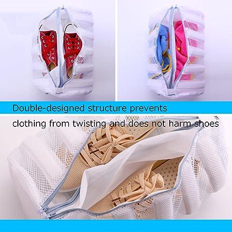 Silver_river Saco Lavadora para Zapatos Blanco Bolsa para Lavar Zapatillas con Pelota de Lavandería Gratis: Amazon.es: Hogar