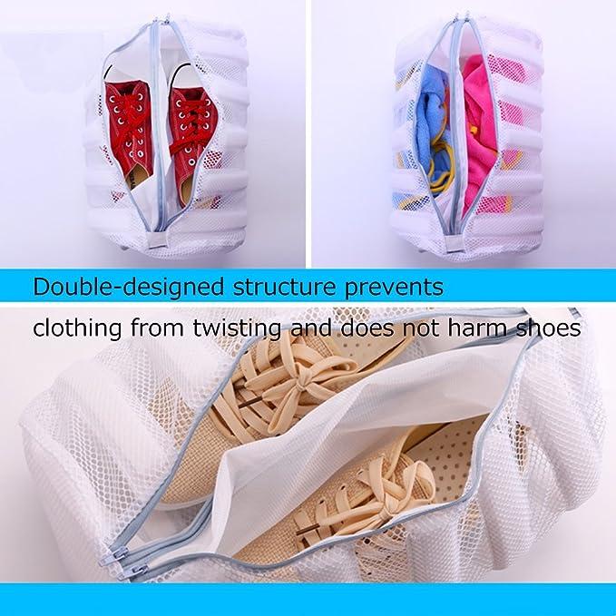 Silver_river Saco Lavadora para Zapatos Blanco Bolsa para Lavar Zapatillas con Pelota de Lavandería Gratis