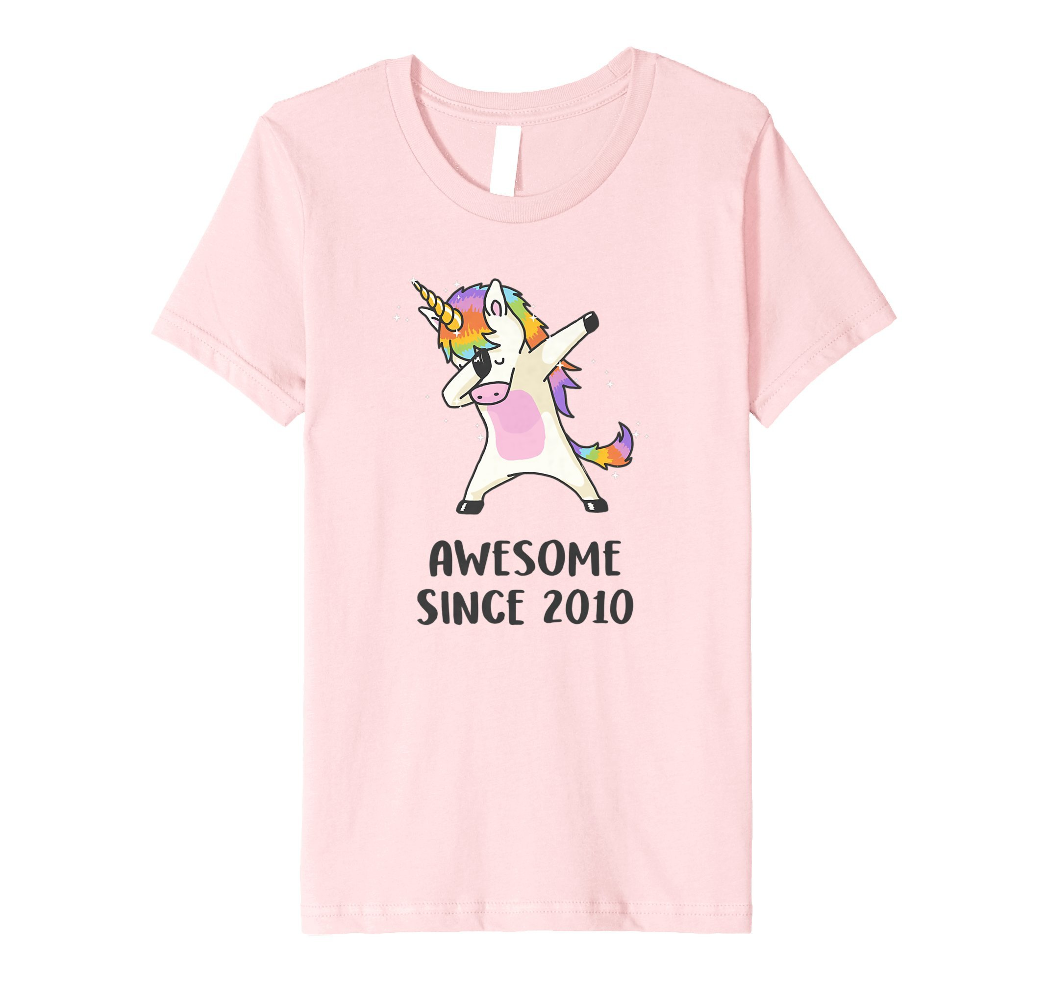Kids Dabbing Unicorn Shirt Awesome Since 2010 8th Birthday TShirt 8 Pink
