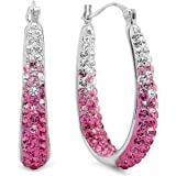 Sterling Silver Pink and White Hoop Earrings made with Swarovski Crystals