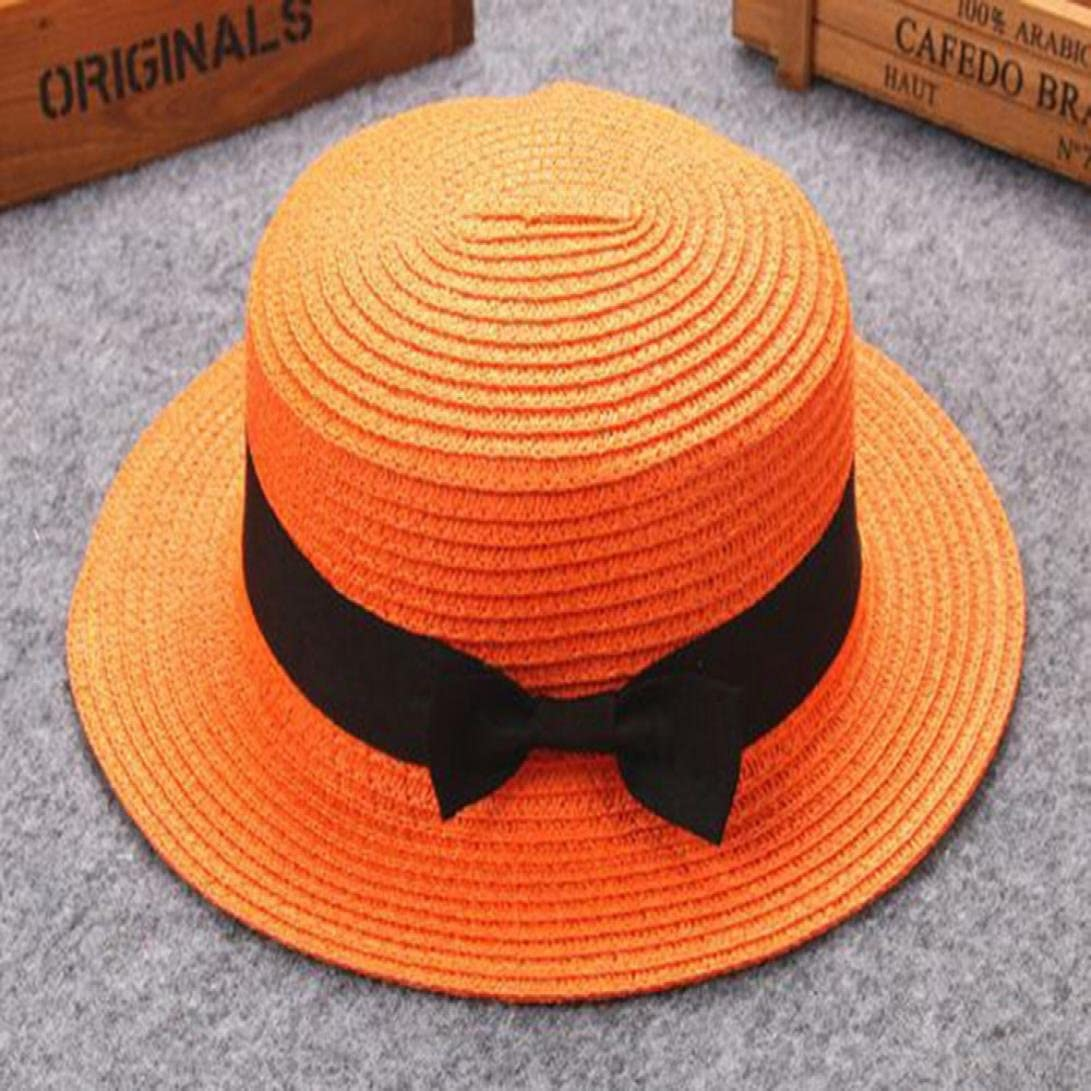 Kid Toddler Baby Bowknot Sun Hat Cap and Father Mother Breathable Sun Straw Hat