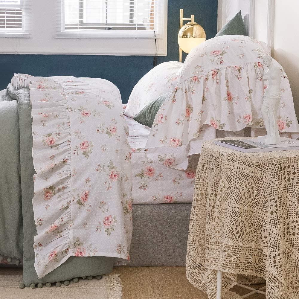 Queen's House Shabby Roses Bed Sheet Set 4-Piece King Size French Country Bed Sets