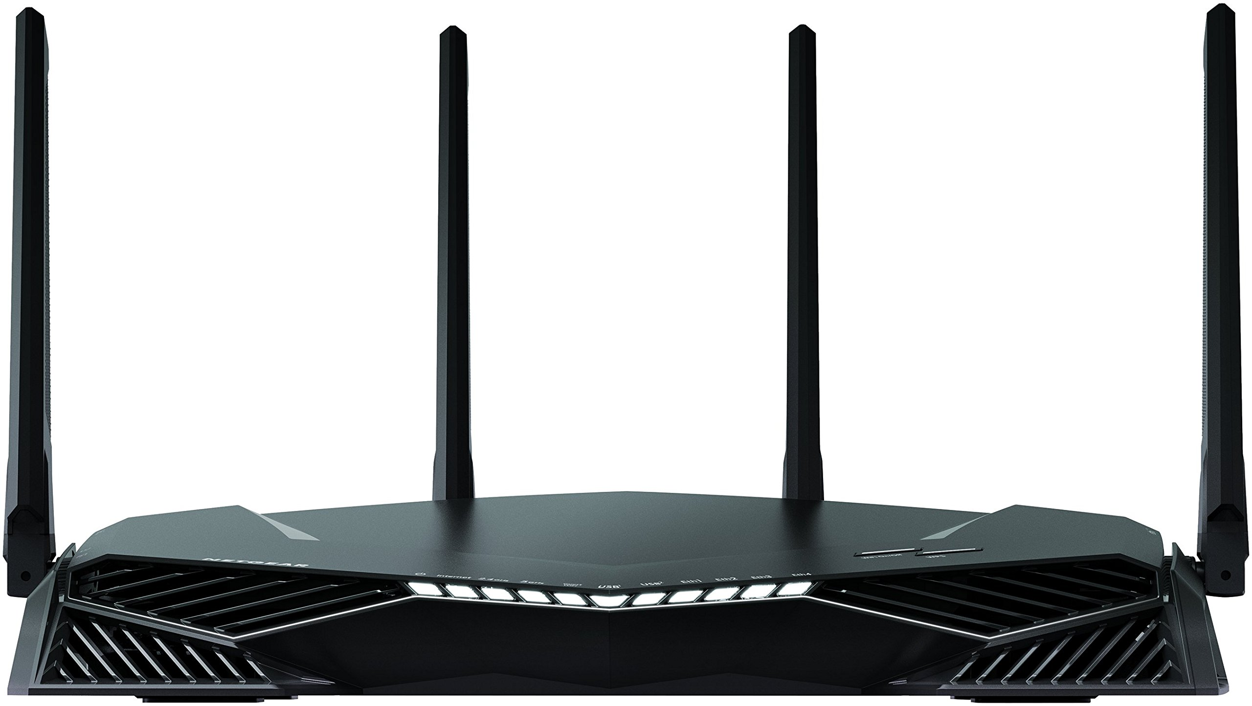 NETGEAR XR500 Nighthawk Pro Gaming WiFi Router- AC2600 Dual band wireless Gigabit Ethernet speeds - Control your ping and latency- Works with Xbox, PlayStation, PC and more. 6 Minimize ping and maximize performance with four 1-Gigabit Ethernet ports for lag-free, wired connectivity and 1.7 GHz dual-core processor network efficiency Amp up your WiFi with AC2600 dual-band router that delivers blazing fast speeds up to 2.6 Gbps Put your gaming traffic in a designated express lane with advanced Quality of Service, bypassing network congestion and reducing lag spikes,  jumps and jitters