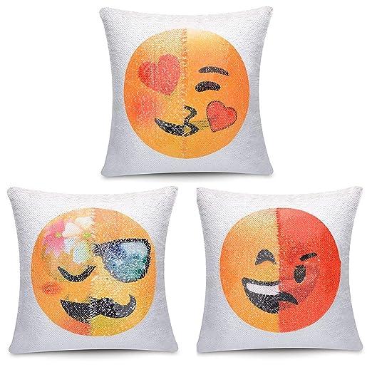 FUFU Emoji Almohada Cuadrado, Almohada Decorativo Suave ...