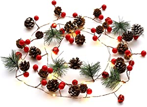 Christmas String Lights, 6.5 ft Pinecone Bell Red Berry Garland with Lights Battery Operated Fairy String Lights for Christmas Decorations Holiday Party Patio Garden Winter Holiday New Year Decor