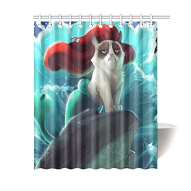 Charmant Custom Grumpy Cat Of Little Mermaid Waterproof Polyester Fabric Bathroom Shower  Curtain Standard Size 66(