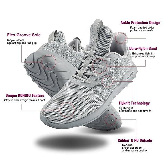 Soulsfeng Sneakers Zapatos Deportivos para Mujer Zapatos con Cordones Correas Amortiguación Malla transpirable Tela Zapatos Planos Negros y Rojos(gris 42.5EU) mDfm69