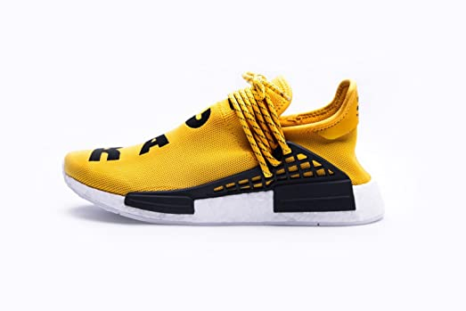 Adidas Mens Pharrell Williams X Human Race NMD Yellow/Black-White Fabric  Size 6.5