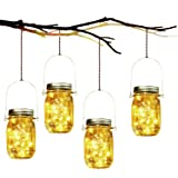 Lámpara de Decoración Solar - 4 Piezes Lámpara Solar Mason Jar Set Lámpara Ahorro de Energía e Impermeable para Jardín…