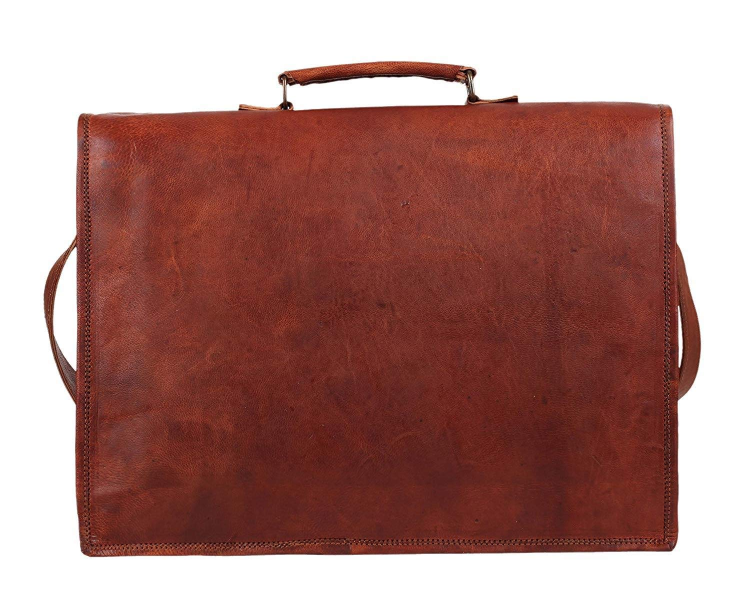 17 Inch Vintage Men's Brown Handmade Leather Briefcase Best Laptop Messenger Bag Satchel