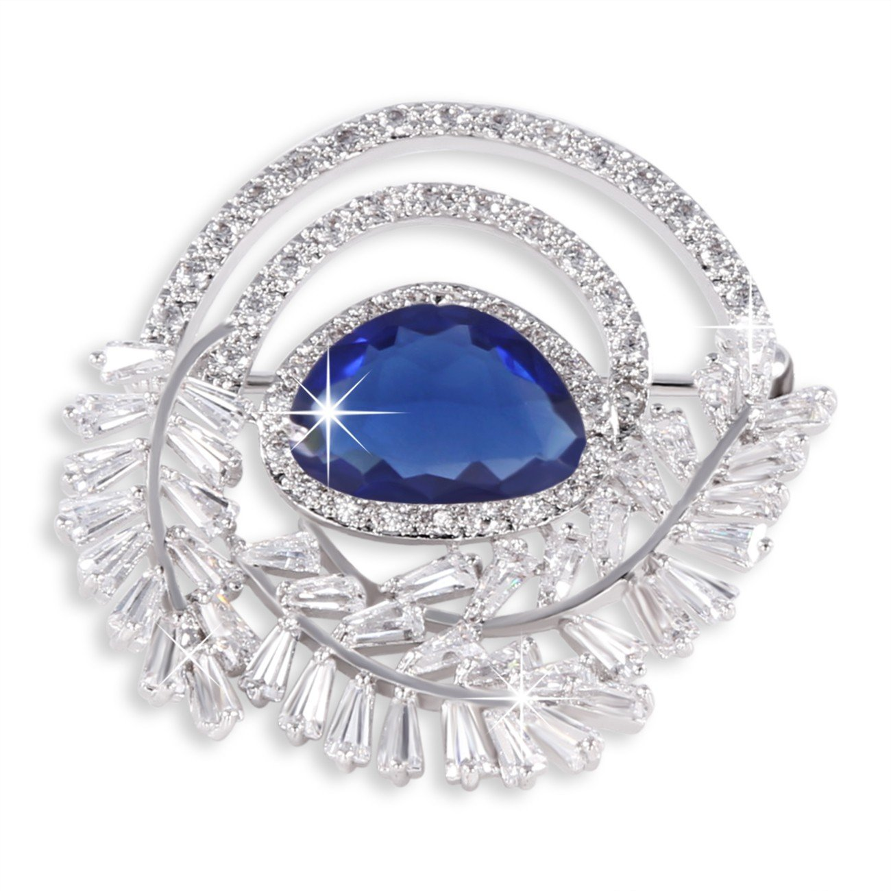 GULICX Cubic Zirconia Crystal Luxury Sapphire Color Tear Drop Blue Brooch Silver Tone Women and Girl