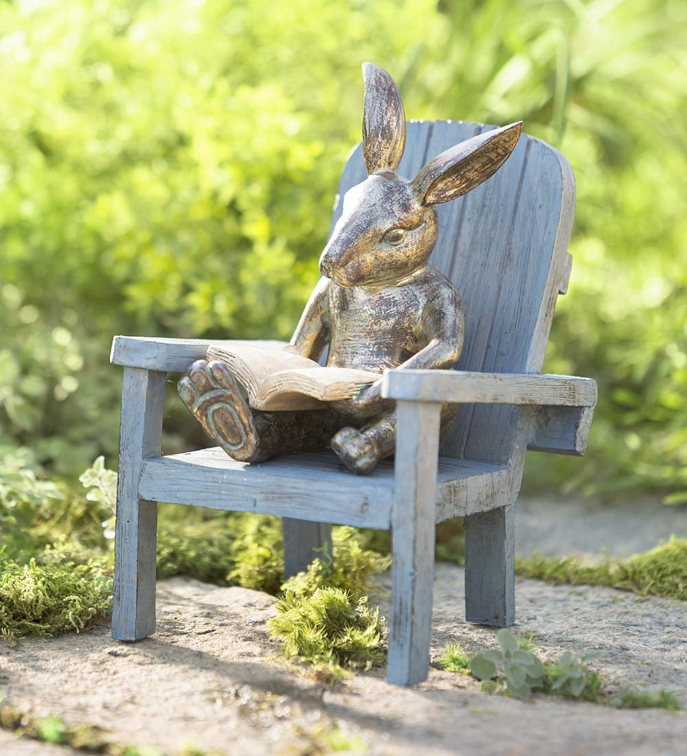 Reading Rabbit Outdooor Yard and Garden Resin Animal Statue 5¾ L x 6 W x 9¼ H