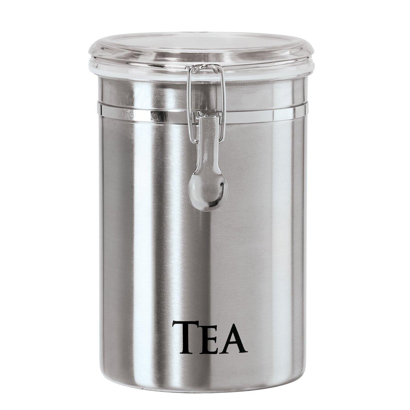 Oggi 6597.0 Tea Airtight Canister with Clamp, 5 x 7.75/60 oz, Stainless 5 x 7.75/60 oz