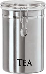 Oggi 6597.0 60-Ounce Brushed Stainless Steel Tea Airtight Canister with Acrylic Lid