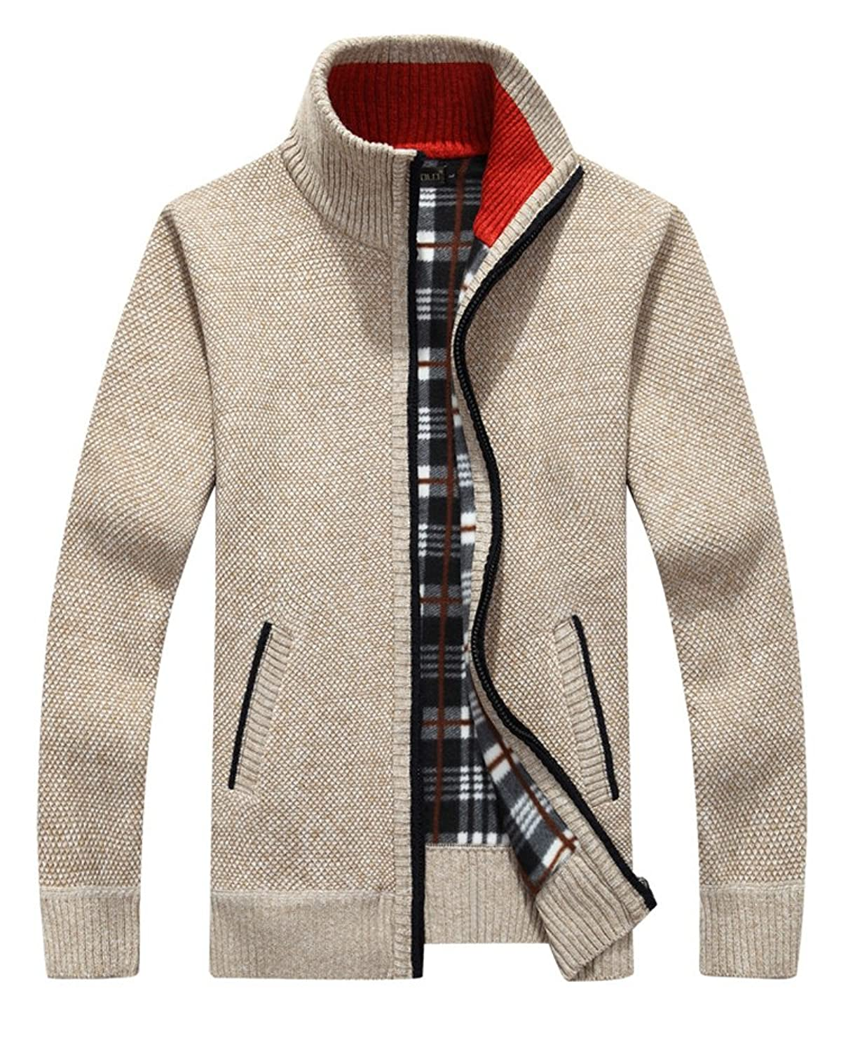 Vcansion Men's Classic Fleece Zip up Cardigan Collar Sweater at ...