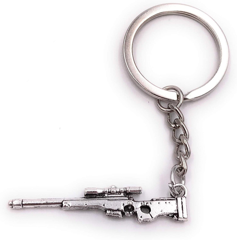 Onwomania Llavero Rifle Pistola francotiradora Pistola automática de Metal Colgante Encanto