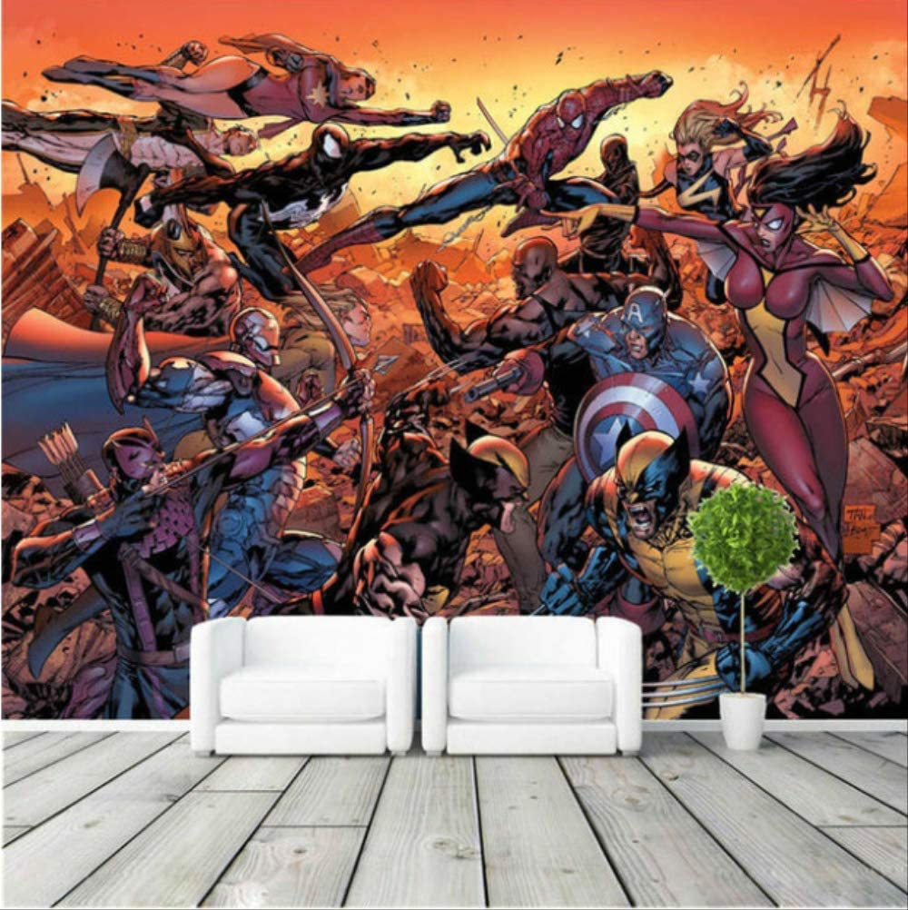 Cartoon Avengers Photo Wallpaper Movie Wall Mural Marvel Comics Wallpaper Super Hero Room Decor Large Wall Art Kid Room Bedroom Width 400cm Height280cm A Amazon Co Uk Diy Tools