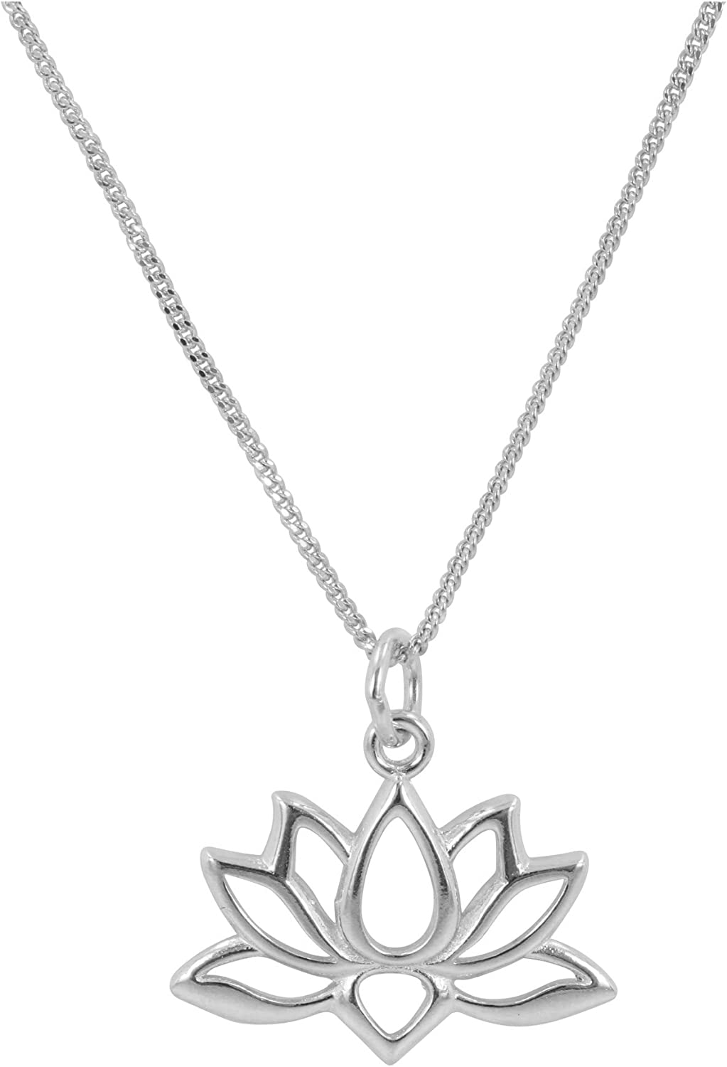 Amazon Com Lotus Flower Necklace In Sterling Silver On 18 Inch