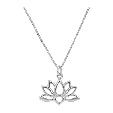 Lotus Flower Necklace In Sterling Silver On 18 Inch Chain 7225