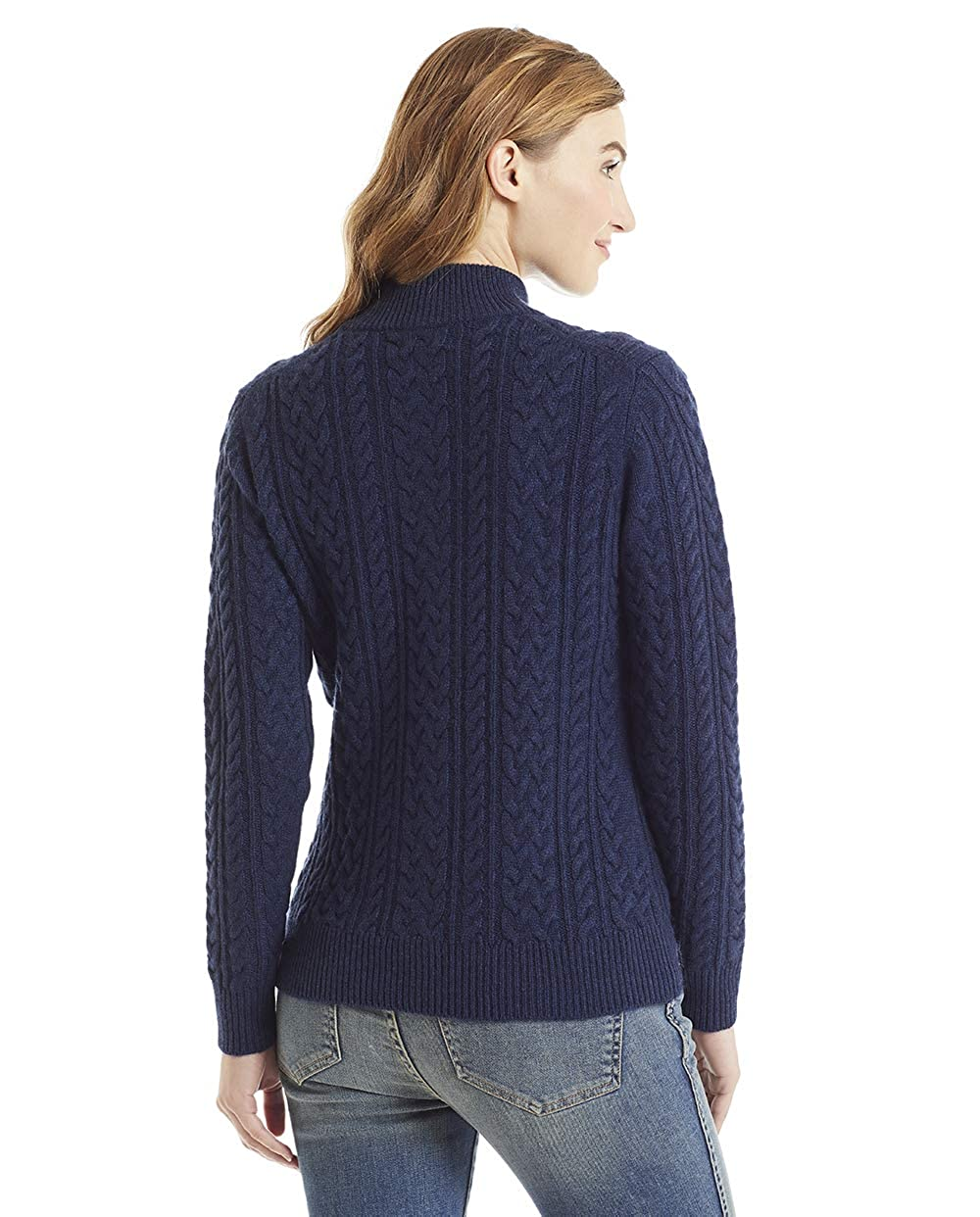 Invisible World Womens 100/% Cashmere Sweater Cable Knit Cardigan Katy
