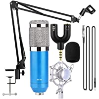 Bm800 Condenser Microphone, Sound Studio Recording Dynamic Professional Condenser Microphone Set, Bm800 Mic, Bm800 Professional Suspension Microphone Kit Studio Condenser Microphone with Arm Stand Microphone Stand for Studio Recording, and 3.5mm Audio Jack to Headphone Microphone Splitter Converter Adaptor Set for Radio Broadcasting 3.5mm Audio Cable Foam Pc, Computer