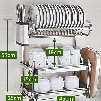 gwdzx Regal de table Doppeltür de Küche Küchenregal Küche Edelstahl ...