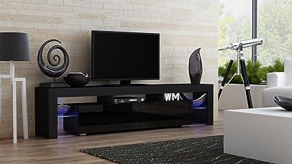 Amazon.com: Concept Muebles TV Stand MILANO 200 Black Body/Modern ...