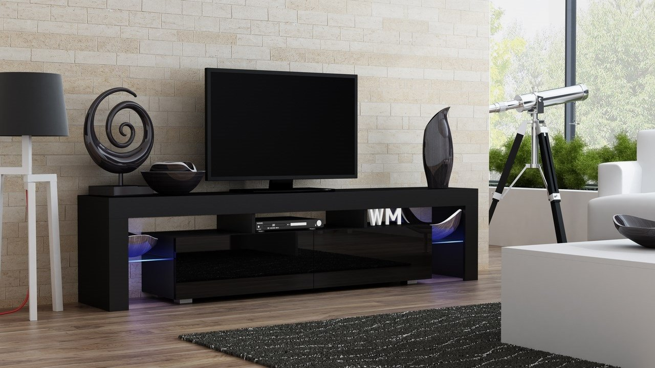 TV Stand MILANO 200 Black Body / Modern LED TV Cabinet / Living Room Furniture / Tv Cabinet fit for up to 90-inch TV screens / High Capacity Tv Console for Modern Living Room (Black & Black)