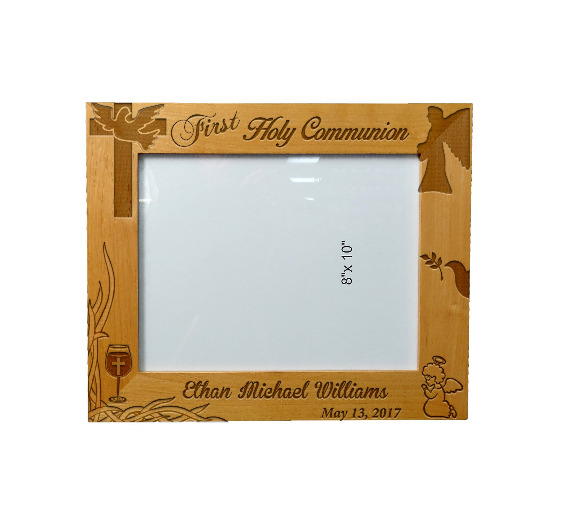 Personalized Laser Engraved Wooden Picture Frame 8'' x 10'' First Holy Communion Special Occasion