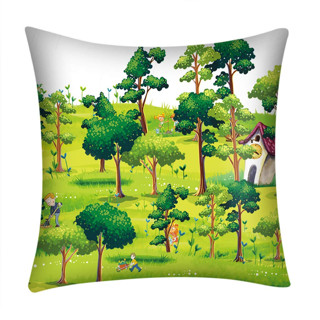 NUWFOR Print Pillow Case Polyester Sofa Car Cushion Cover Home Decor(D)
