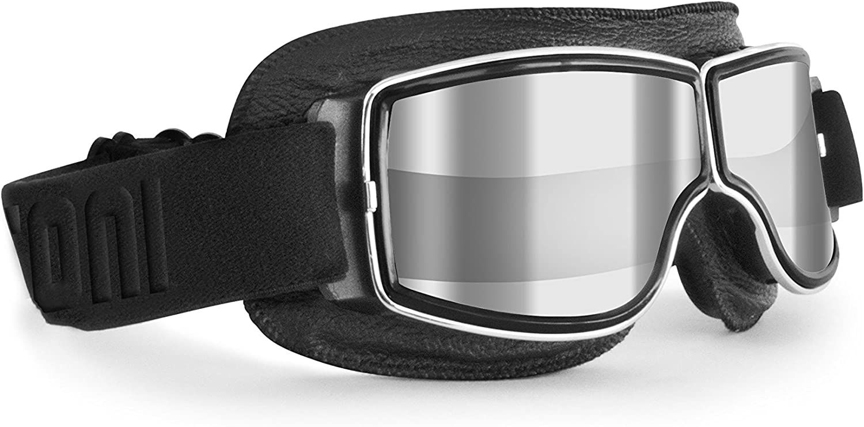 BERTONI Gafas Moto Vintage de Piel Negra y Montura Cromo - Ventilación Anti-Vaho - by Italy - AF188 - Gafas Motoristas para Cascos Moto Harley y Chopper (Lente Transparente Espejo)